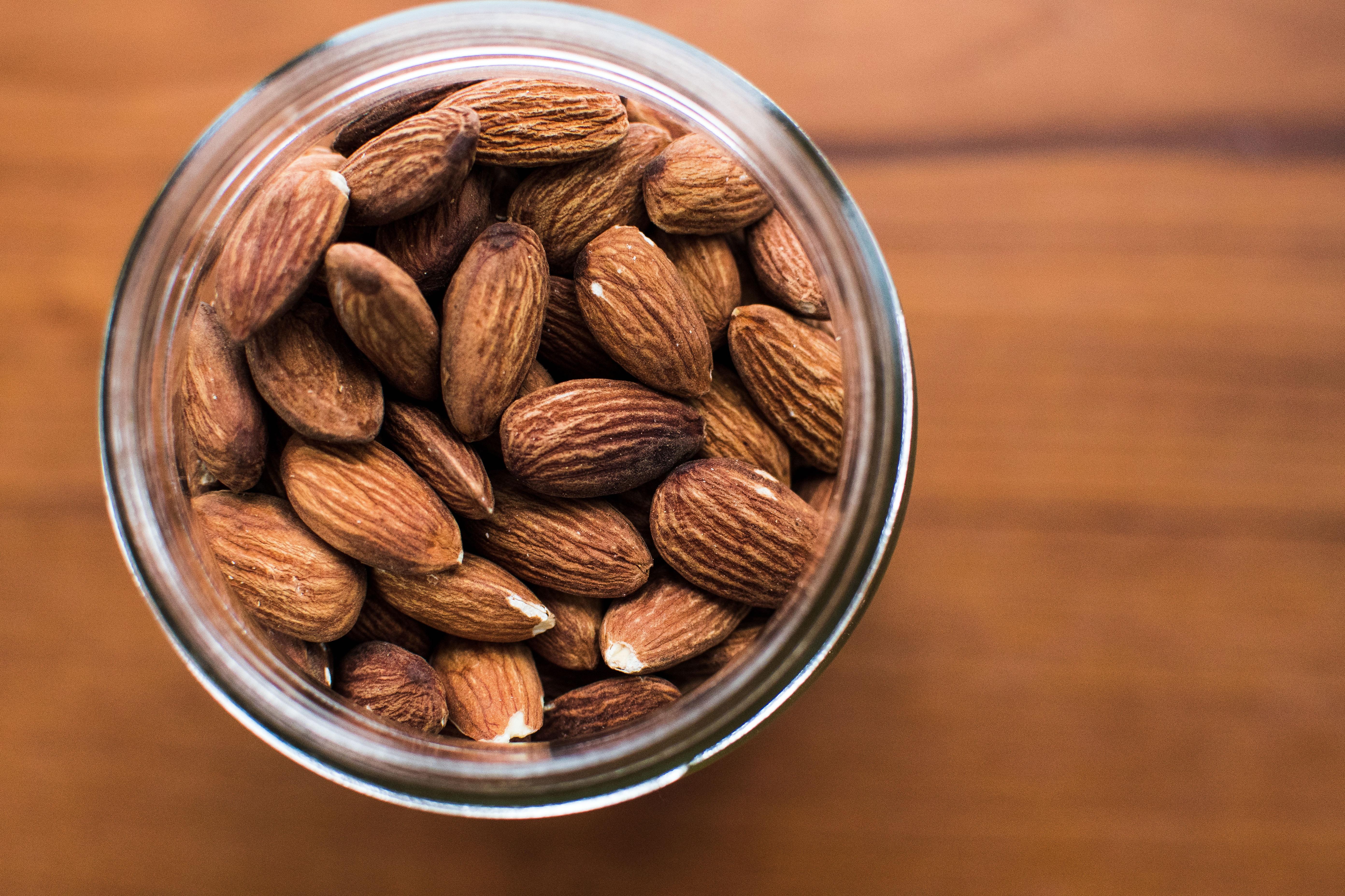 almonds nuts in jar